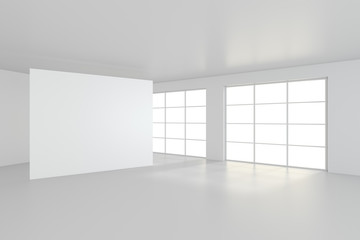 Empty white billboard in simple interior. 3d rendering.