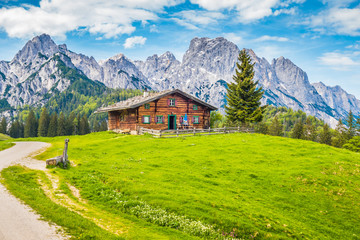 Wall Mural - Traditional wooden mountain chalet in alpine mountain scenery