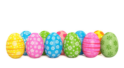 Many multicolored Easter eggs standing in a row on a white background. 3D rendered Illustration.