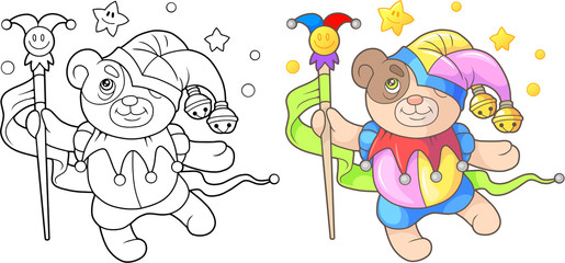 Cartoon teddy bear Jester coloring book