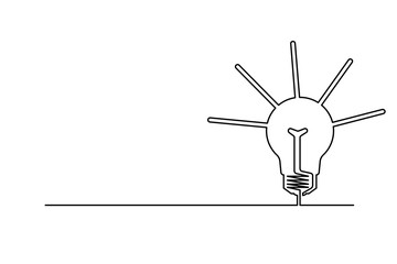 The background is drawn by a continuous line. Black on white. The lamp is the symbol of the idea, the solution of the problem.
