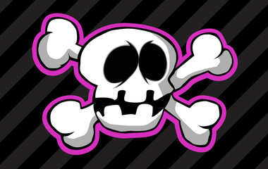 A cartoon skull with crossed bones on a striped background.