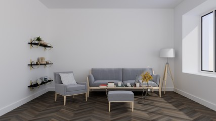 living room in modern house with white wood wall - 3D rendering