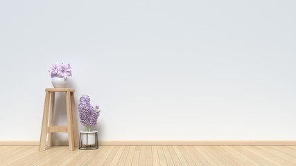 Flower pot on a chair on a wooden floor with white walls,3D rendering