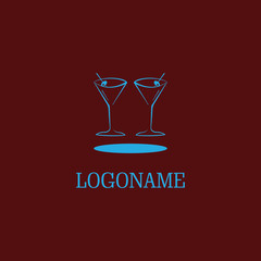 abstract wine glass logo