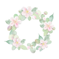 Pastel background with flower, petal and leaves.