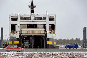 Ro-ro cargo ship loading in a port
