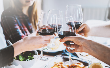 Happy friends making cheers with glasses of red wine, group of people celebrating and toasting at cozy home atmosphere, togetherness and traditional concept
