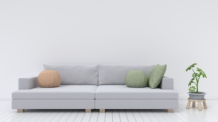 The interior design has a sofa with pillows and ornamental green white background, 3D rendering
