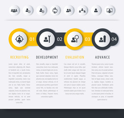 Staff, HR, personnel development steps, timeline template, vector infographics elements, icons