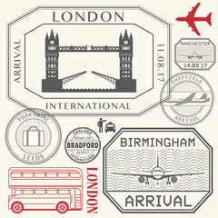 Travel stamps or symbols set England London and United Kingdom