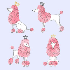 Watercolor princess poodles set. Vector illustration of cute dogs.