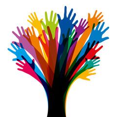 Mains - Arbre - équipe - ensemble - union - travail d'équipe