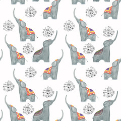 Cartoon watercolor elephants on a white background with decorative elements