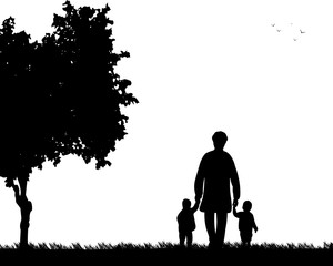 Grandmother walking with grandchildren in park, one in the series of similar images silhouette