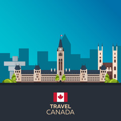 Travel to Canada. America. Vector flat illustration.