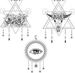 All-seeing eye symbol. Sacred geometry, third eye, buffalo skull, roses. Tattoo design, mystic symbol. Boho hipster design.