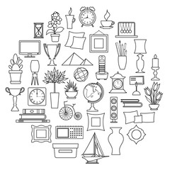 Set of interior decor in outline style isolated on white background. Icons for web design. Vector illustration.