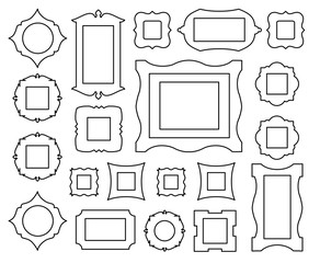 Set of icons picture frames in outline style. Vector illustration. Silhouettes of different frames isolated on white background.