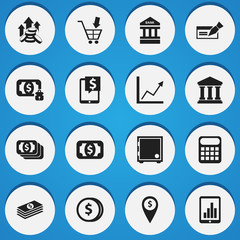 Set Of 16 Editable Banking Icons. Includes Symbols Such As To Deposit Money, Diagram, Exchange Center And More. Can Be Used For Web, Mobile, UI And Infographic Design.