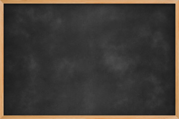 Chalkboard blackboard with frame. Black chalk board texture empty blank with chalk traces and wooden frame square. Concept business, drawing, ideas, education, art.