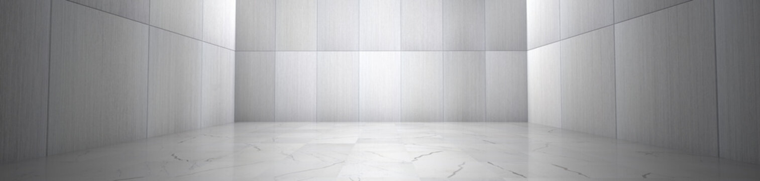 Empty Room With Marble Floor and Metallic Wall Panels