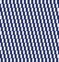 Pattern with cafe wall optical illusion. Tile. Seamless in all directions. Geometrical illusion. Lines formed by white rectangles appear to be sloped. Isolated illustration on blue background. Vector.
