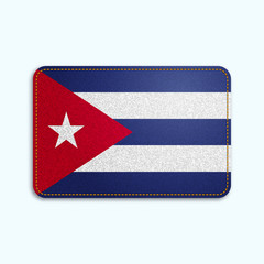 National flag of Cuba with denim texture and orange seam. Realistic image of a tissue made in vector illustration.