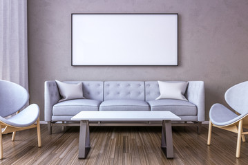 White picture frame on the wall in the living room. 3D render.