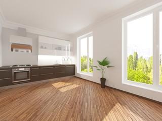 Modern design kitchen interior.3d render