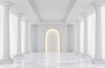 Luxury white empty room classic space interior 3d rendering image,There are decorated with arches indian style,doric column, white marble floor and hidden warm light Fototapete