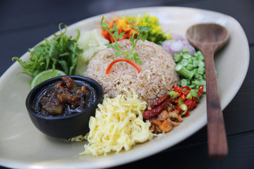 Local Thai food Rice Mixed with Shrimp paste