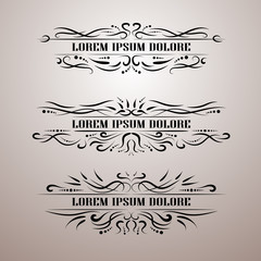 Vintage decor elements vector set. Wicker lines calligraphic elegant ornament. Restaurant Menu, Quotes, Greeting cards, Certificate and other.