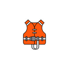 Flat vector icon life jacket in cartoon style isolated on white background. Orange rescue life jacket equipment