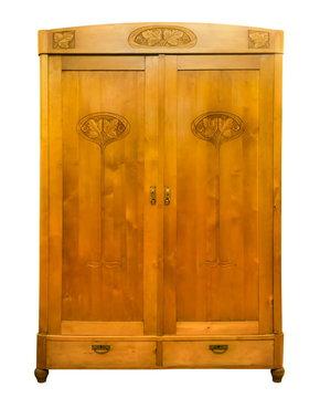 Antique wood wardrobe isolated on white