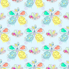 Vector seamless pattern with insect Hand drawn outline decorative endless background with cute drawn butterfly, flowers Graphic illustration. Line drawing. Print for wrapping, background, decor