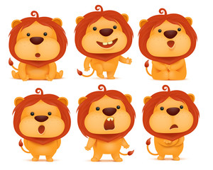 set of emoji lion cartoon character