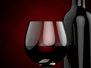 Bottles and glasses with red wine on a red background. 3d illustration.