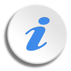Blue information in round white button with shadow