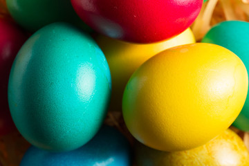 colorful easter eggs close up