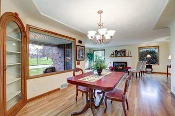 Open floor dining room with vintage table set