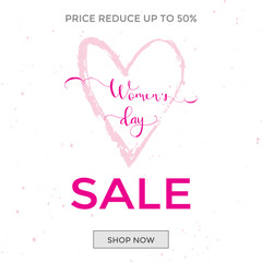 Discount greeting card design - International Happy Women's Day. 8 March holiday background with lettering. Trendy design template for advertising and  sale promotion. Vector illustration.