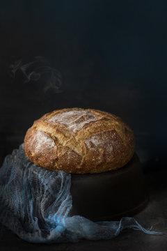 Still life of freshly baked bread