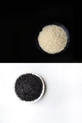 Still life of bowls of black and white rice on opposing black and white backgrounds, overhead view