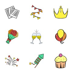 Happy day icons set, cartoon style