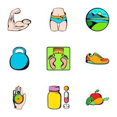 Fitness icons set, cartoon style
