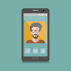 Vector illustration of hipster man app icon on smartphone display in flat style.