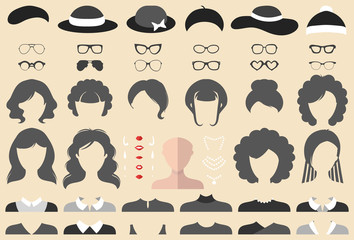 Vector set of dress up constructor with different woman haircuts, glasses etc. in flat style. Female faces icon creator.