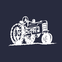 Vector illustration of retro tractor in hand sketched style. Farm fresh logotype. Bio products poster. Eco food sign.