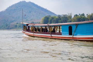 Boat running on mekong river,Laos.